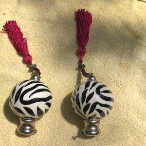 Zebra Finials with silver trim &  pink tassels
